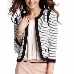 LOFT piped tweed 3/4 sleeve blazer - black & white